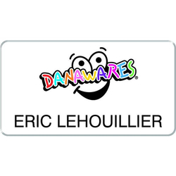 "Full Colour Printed Names Plastic Badge - 2 3/4"" x 1 1/2"""